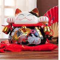 Wholesale ceramic maneki neko piggy bank home decor crafts room decoration ceramic kawaii ornament porcelain figurines cat