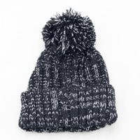 Wholesale 2017autumn and winter color woven hat Super cute plush ball Fashion knitted cap Outdoor all match other color thick warm spots section Beani