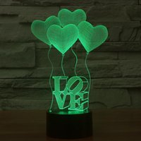 amazing optical - Amazing Optical Illusion D Optical Lamp LED Table Light Visual Bulb Colorful Illusion Touch Holiday Night Light Love Heart Wedding gift
