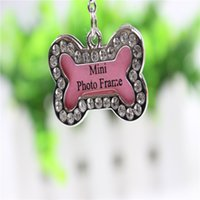Wholesale Pet Dog Id Card Tag Luxury Crystal Decorated Anti Lost Dog Tags with Split key Ring Pendant Bone Shape Pet Tags Metal Photo Frame for Pet