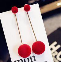 Wholesale Lovely girl big hairball temperament necessary contracted long tassel earrings South Korea long pendant earrings earrings