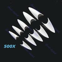 Wholesale Sharp Ending Stiletto Acrylic False Nail Tips Beige Art Beauty