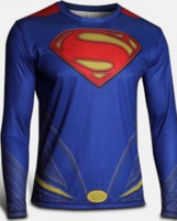 Wholesale Superman long sleeved tights men s sports fitness suit Captain USA spider man Batman T shirt