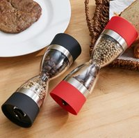 Wholesale Salt And Pepper Mills Novel Salt Pepper Spice Grinders Manual Pepper Mill Creative Hourglass Shape Kitchen Tools