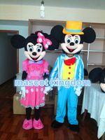 Mickey Mouse azul y el vestido de lujo rosado del traje de la mascota del ratón 2 de Minnie liberan la nave
