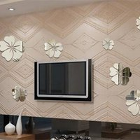 Cheap Wholesale-5 Flower Room Background Art Mirror Surface 3D Wall Sticker Fashion for Bedroom acrylic Children Gifts Home Decor Hot