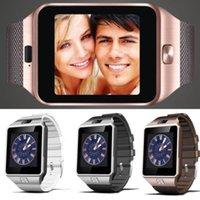 achat en gros de messages de la carte sim-Livraison gratuite Smart Watch Horloge avec carte SIM Slot Push Message Bluetooth Connectivité téléphone Android mieux que DZ09 Smartwatch