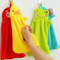 Wholesale Nursery Hand Towel Soft Plush Fabric Cartoon Animal Hanging Wipe Bathing Towel QDU TDS