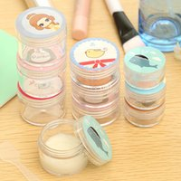 Wholesale cute portable transparent cartoons plastic cosmetic containers empty cream jars cosmetic packaging cream box refillable bottles free shippin