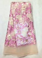 Precio de Escama de lentejuelas-5 Y / pc Cordón africano popular del acoplamiento del bordado rosado de la flor con el cequi del oro y la tela redonda francesa del cordón de las escamas para la ropa LJ15-1