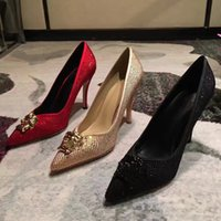 Wholesale Lace Up Material Heels - top quality new arrival women silk material rhinestone high heeled pumps, women evening party 10cm pumps, female high-heeled shoes