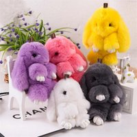 Wholesale 100 Real Genuine Rex rabbit Furs Keychain Pendant Bag Car Charm Tag Cute Mini Rabbit Toy Doll Real Fur Monster Keychains