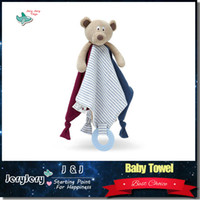 bear doll white - Baby Comforter Toy Lovely Bear Doll Appease Towel Doll Soft Plush Rattle With Ring Teethers Gifts