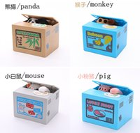 Wholesale Panda Automatic Electric Piggy Bank Creative Convenient Moneybox Kids Gifts Cat Mouse Pig Steal Coin Penny Bank Saving Money Box