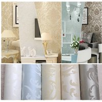 Wholesale Non woven european glossy stylish blue beige white modern damask wallpaper living room modern luxury wall paper for bedroom