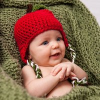 apple beanie babies - Apple Design Baby Hat with Earflaps Crochet Knit Infant Beanies Christmas Cap Photography Props Headwear H103