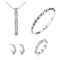 Wholesale Fashion K Gold Bamboo Jewelry Two Three Four Piece Set Earring Necklace Ring Bracelet Sets Platinum ornaments