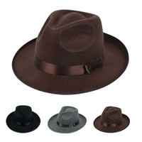 Wholesale Fashion Unisex Jazz Hard Felt Fedora Hats Outdoor Sun Shading Panama Bowler Wide Brim Hat Gangster Cap Fashion Fedoras Chapeu