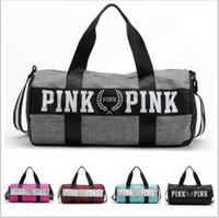 Women bag - Women Pink Handbags Secret Letter Travel Bags VS Beach Bag Duffle Striped Shoulder Bags Large Capacity Waterproof Fitness Yoga Bags B1406