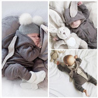 Wholesale European Style Spring Children Clothes Sets Infant Toddlers Soft Cotton Rompers Cute Baby Rabbit Ear Jumpsuit