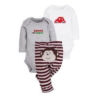 3-6 Months baby chaps - 2017 baby clothes Long sleeve baby clothing three chaps suit Pure cotton jumpsuits