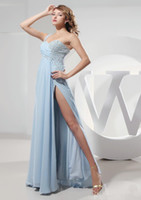 Wholesale 2016 Light Blue Long Party Dresses One Shoulder Crystals Beads Sleeveless Pick ups A Line Long prom dress
