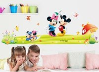 mickey mouse baby room decor achat en gros de-DIY Cartoon Kids MinnieMickey Mouse Stickers muraux amovibles Bebe Kids Room Poster Cartoon Wallpaper Parlor Bedroom Decor House