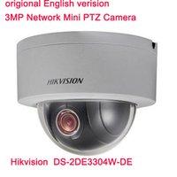 achat en gros de zoom mini caméra de sécurité-Hikvision Version Anglaise Originale DS-2DE3304W-DE 3MP Caméra IP Réseau Mini PTZ 4X Zoom IP66 PoE Security CCTV Camera