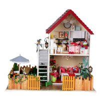 Wholesale Handmade Wooden House Toys children s Christmas new year gift kids DIY Mini Furnitures Model LED Dollhouse