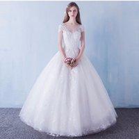 2017 Best Vente A-ligne Blanc Fait Des Fleurs Robes De Mariage Jewel Manche Courte-parole longueur Robes De Mariée Elegant