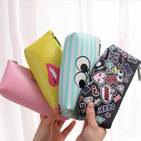 Wholesale PC Cute Simle Lip PU Leather Pencil Case Stationery Storage Box School Office Supply Escolar Papelaria Gift Stationery