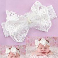 Baby Headbands Girls Cabello Arcos Accesorios Niño Blanco Moda Encaje Rhinestone para los cabritos Hairbands Dulce Princesa Linda