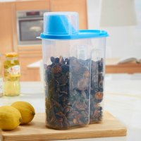 Wholesale Portable Plastic Cereal Container Food Storage Container Transparent Sealed Tank Storage Can Dumping of Dried Fruit Snacks Antibacterial Sto