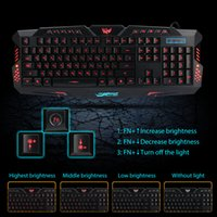 Rojo / Púrpura / Azul Retroiluminación LED Pro Gaming Teclado M200 USB con conexión por cable Powered N-Key completo para LOL Dota 2 Periféricos de Ordenador