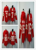 autumn rice - 49ers hoodies football jerseys San Francisco hoody sweatshirts MONTANA RICE KAEPERNICK red freeshipping