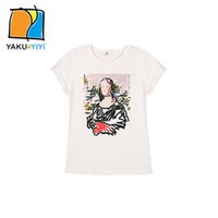 artistic t shirts - Girls Artistic Print Tees Crew Neck Short Sleeve Loose Tops Casual Street Style T shirts Kids Wear YAKUYIYI