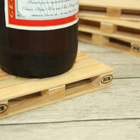 Wholesale set Kitchen Utensils Wooden Pallet Styled Coaster Mini Wooden Pallet Cup Coasters