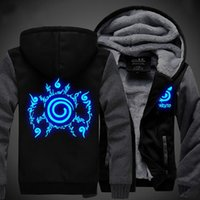 Wholesale Unisex NARUTO Akatsuki Hoodies Coat Winter Fleece Thicken Luminous Sweatshirts Jacket