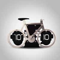 Wholesale set Modern Digital Auto Flip Desk Clock of Bike Shape Metal Retro File Down Page Clocks HY F088