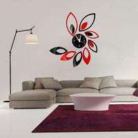 Wholesale Fashion leaf wall clocks diy acrylic mirror wall clocks sitting room bedroom decoration wall clocks stickers