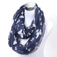 autumn gift ideas - lady navy white butterfly infinity scarf autumn winter shawl Women s loop scarf female wrap Accessories Gift Idea