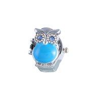 La mejor calidad y la manera caliente de la venta Regalo retro creativo de los relojes de las mujeres del reloj del anillo de la clamshell del dedo del buho Nuevo Azul