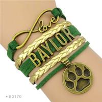 baylor bears sports - Pieces Infinity Love Baylor Bears Sports Team Bracelet Green Gold Custom Sports Cheer Team Bracelets Drop Shipping