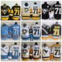 Hommes Pittsburgh Penguins Maillots de hockey # 71 Evgeni Malkin 2017 Stadium Series Yellow Jersey Retourner CCM Evgeni Malkin Stitched A Patch