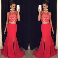 Wholesale Cheap Silk Patterned Dresses - Floor Length Red Prom Dresses 2017 High Neck Applique Beaded Prom Dress Sexy Open Back Party Dress Cheap Formal Evening Gowns