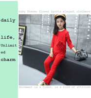 Wholesale HOT SELLING Spring and Autumn children s clothing Comfortable sports and leisure new girl suit baby three dimensional flowers two sets