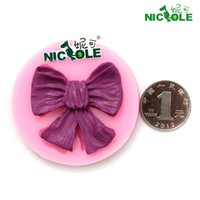 Wholesale Nicole DIY Mini Butterfly Knot turn sugar cake decorated with silicone mould DIY handmade chocolate silicone mold