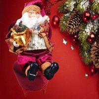 Vente en gros-2016 NOUVEAU Top vendant haute qualité 35cm Noël assis Père Noël Figurine Poupée Jouet Maison Décor Décoration décoration cadeau