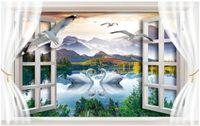 Wood Fiber Wallpaper bedroom window pictures - 3d room wallpaper custom photo non woven mural Swan lake scenery window decor painting picture d wall murals wallpaper for walls d