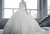 Wholesale A shoulder in the long sleeved lace bride white wedding dress trailing new foreign trade